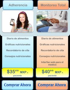 paquetes monitor nutricional integrapp aplicación celular